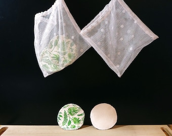 Organic makeup remover cotton rounds, Facial wipes, Makeup remover pads set of 7, Zero waste face pads, Reusable flannel cotton rounds