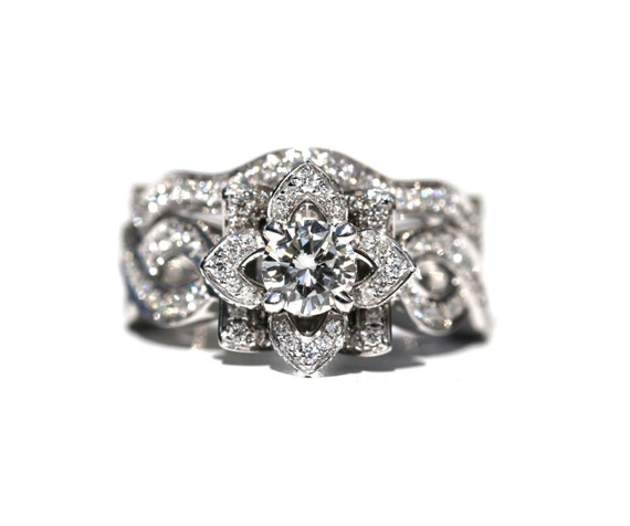 LOVE In BLOOM Wedding set Flower Rose Diamond Wedding band