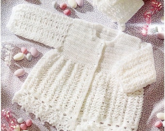 Baby CROCHET PATTERN crochet matinee jacket bonnet bootees crochet matinee coat 16-20inches 4 Ply Baby Crochet Patterns PDF instant download