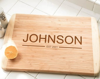 "Personalized Large Bamboo Cutting Board 18""x12"" 