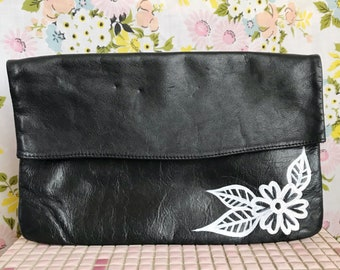 Vintage hand painted black leather retro foldover clutch with traditional tattoo illustrations