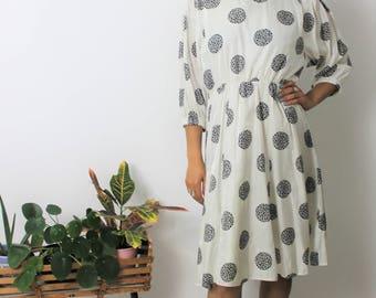 1980s White & Black Print Midi Dress Size UK 10, US 6, EU 38