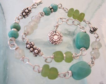 Handcrafted Chrysoprase, Peridot, and Mystic Prenite Bracelet with Silver Lace Charm