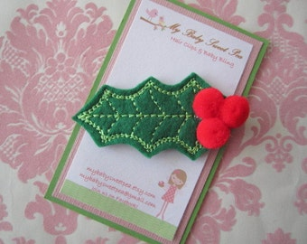 Girl hair clips - Christmas hair clips - girl barrettes