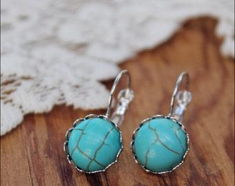 Turquoise Earrings, Silver Turquoise Earrings, Gemstone Earrings, Drop Gemstone Earrings, Turquoise Jewelry, Faux Gemstone Earrings