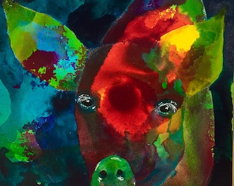 Dreamer - Pig Painting - Original Acrylic art on Gessobord - 5 x 5 inches (12 x 12 cm)