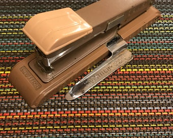 Vintage Bostitch B8 Stapler with Staple Remover Brown Tan