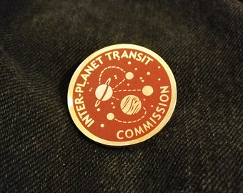 Inter-Planet Transit Commission Space Travel Enamel Pin