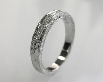 Hand Engraved Diamond Wedding Band