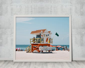Digital Download, Fine Art Photography, Summer, Ocean, Landscape, Wall Art, Miami Beach Lifeguard Tower, Gift for Her, Gift for Him, #3