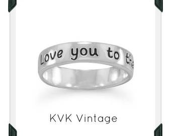 Love you to the moon and back -  Sterling Silver Handstamped Ring
