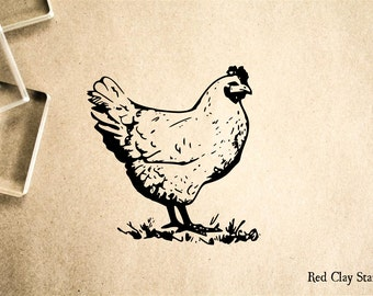 Chicken Rubber Stamp - 2 x 2 inches