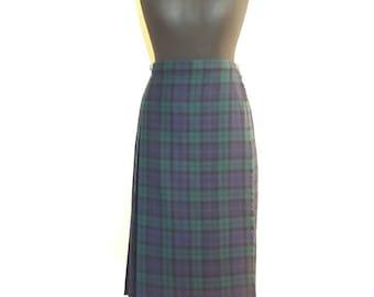 Scottish Tartan Plaid Authentic Hot Green Wool Wrap Skirt Size Medium