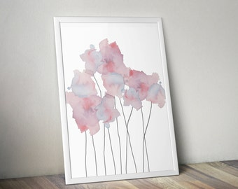 Soft, Ethereal Blue & Purple Watercolor Flowers Wall Art Print - 11x14 PDF Instant Download