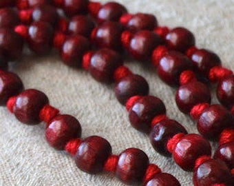 108 Rosewood Red Sandalwood Hand Knotted Mala Beads Necklace, Prayer Beads Mala Necklace For Chakra Healing Meditation and Mantra Chanting