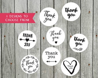 72 Thank You Stickers / Wedding Labels / Envelopes Seals / Party / 40 mm