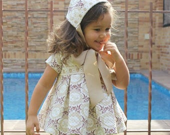 Pleated DRESS+Bonnet+Diaper Cover for newborn baby babies girls 3 PDF PATTERNs + YouTube Tutorial size 1 month to 36 months *Spanish Design*