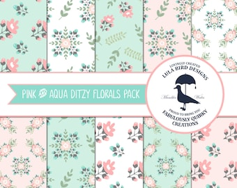 INSTANT DOWNLOAD - Set of 10 Digital Papers in Vintage Ditzy Floral Patterns - Pink and Aqua - Cardmaking Scrapbooking Wallpaper Commercial