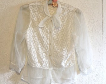 Reserved ~ Darling Vintage Sheer White Lace Blouse with Tie Neck