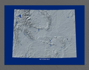 Wyoming Map, Wyoming Wall Art, WY State Art Print, Landscape, Navy Blue