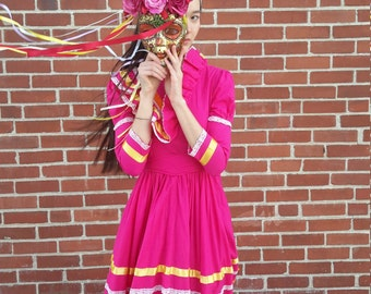 Vintage Peruvian festival dress vintage 1970 cotton with ribbons size 4 free shipping!