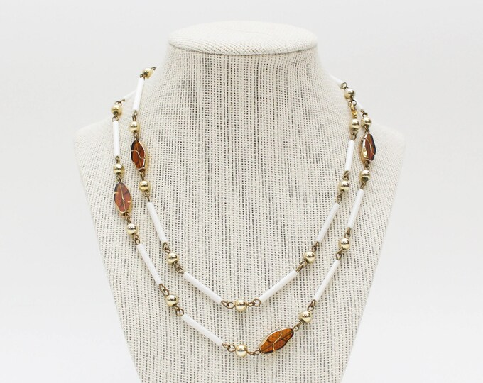 Vintage 1970s Long White and Amber Beaded Necklace - 36 Inches