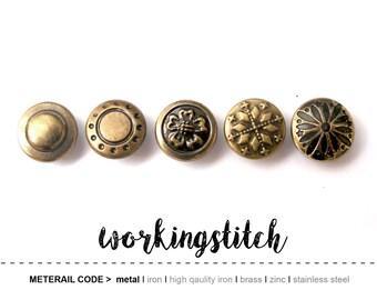 50sets VINTAGE pattern studs Rivets Nailheads for leathercrafts
