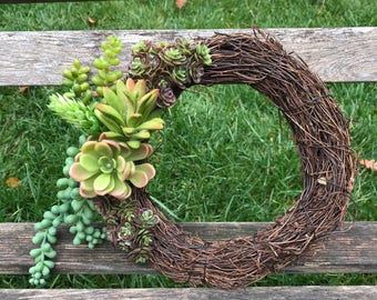 Artificial Succulent Mini Wreath, succulent wreath, grapevine succulent wreath, gift idea