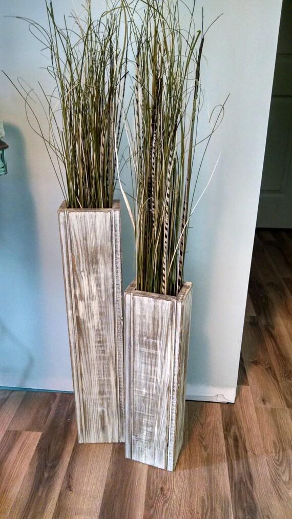 Set 24 And 18 Rustic Floor Vases Wooden Vases