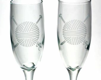 Knit Yarn Ball Champagne Flute - etched stemware for a knitter