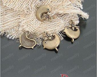 21 * 17MM bird D20910 bronze 20 charms