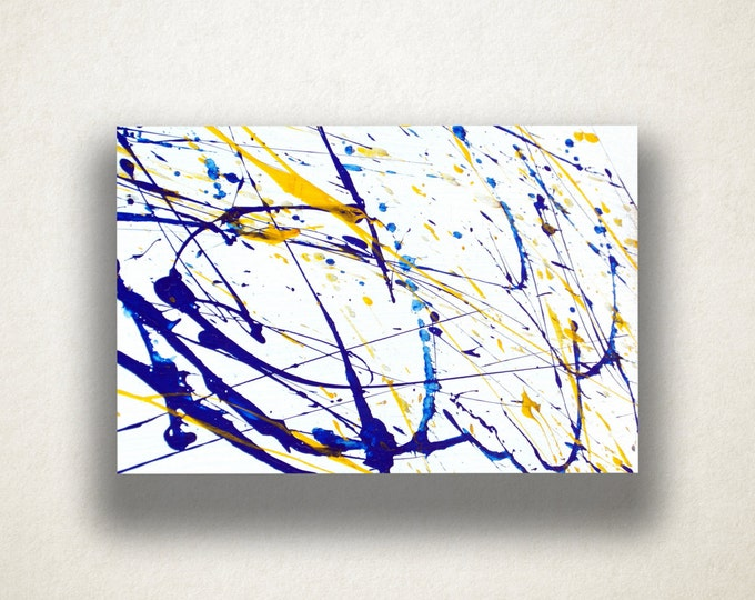 Blue and Yellow Paint Splatter Canvas Art Print, Paint Splatter Wall Art, Paint Canvas Print, Canvas Art, Canvas Print, Home Art, Wall Art