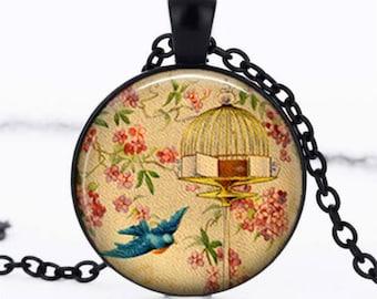 """Bluebird"" glass cabochon necklace"