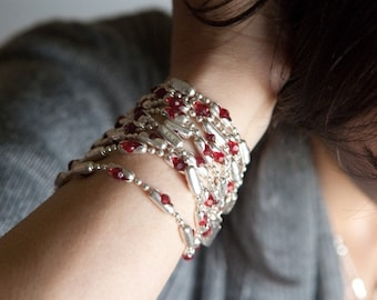 Womens Sterling Chain Beaded Bracelet | Red Ruby Kiss | gorgeous swarovski crystals set in sterling silver settings, bracelet or necklace