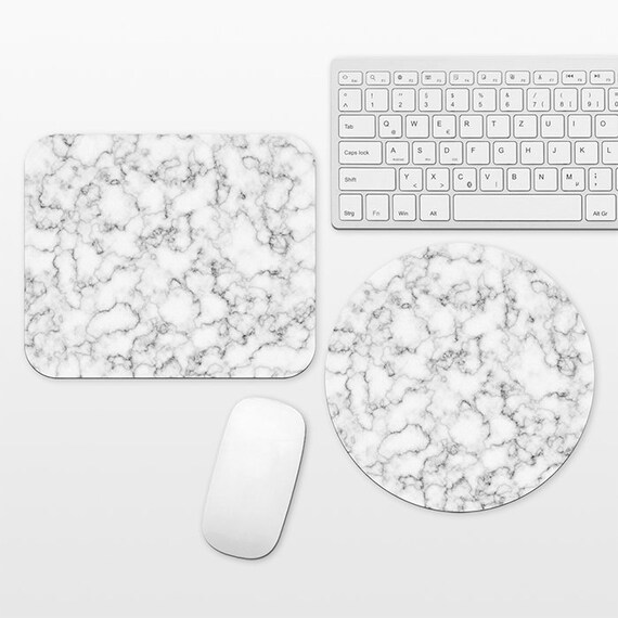 Marble Mouse Pad Marble Mousepad Mouse Mat for Desk Office Computer Round Circle Rectangle Rectangular Mouse Pad for Men Him Black and White