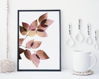Leaf art print, botanical wall art, watercolor leaf art, nature poster, minimal & simple wall art, home decor, gift, nursery decor