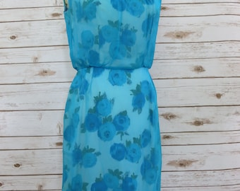Vintage Cocktail Dress 1950's Turquoise Floral Print MadMen Style
