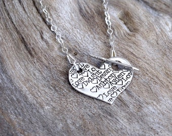 Heart necklace, Heart jewelry, Heart pendant, Large heart necklace, Name Necklace, Silver heart necklace, Sterling Silver, Mother's Day gift