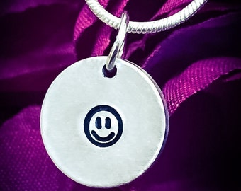 Smiley Face Hand Stamped Necklace. Cute Necklace, Smiley Necklace, Smiley Face Necklace, Happy Face Necklace, Charm Necklace, Face Necklace