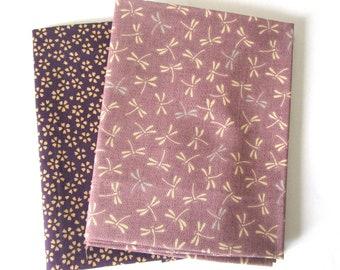 Set of 2 fat quarter 45 x 55 cm - dragonflies and flowers - purple