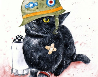 SALE! Tank Cat: Fine Art Watercolour Black Cat Print (Discontinued)