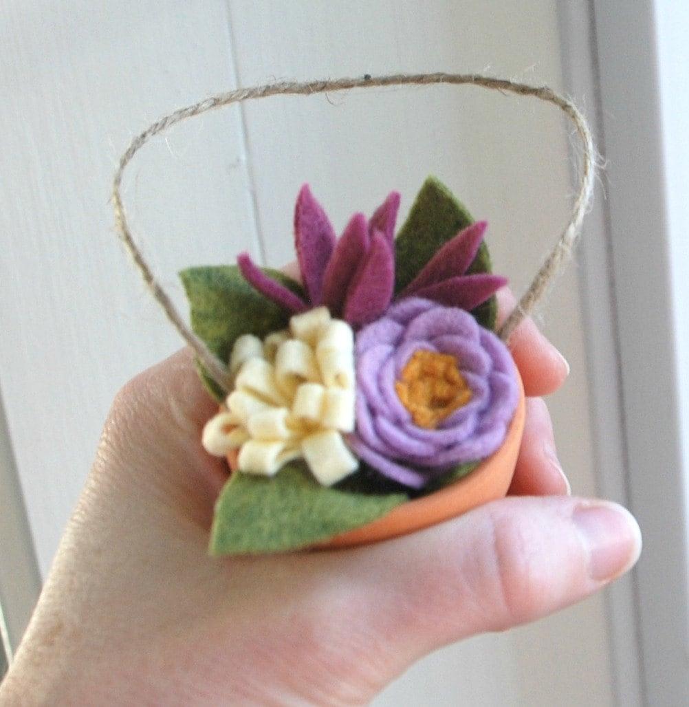 Felt Flower Bouquet Ornament Tiny Clay Pot of Felt Flowers