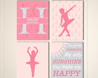 Baby girl nursery art, french nursery,monogram, ballerina, you are my sunshine, damask nursery, set of 4 prints