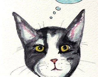 PesCATarian Tuxedo Cat Watercolor Painting - 5x7 Watercolor Cat PRINT - Silent Mylo Tuxedo Cat - Funny Cat Story - Gift for Cat Lover