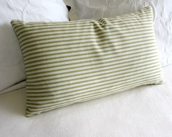 french ticking decorative Pillow 12x20 includes insert green stripes