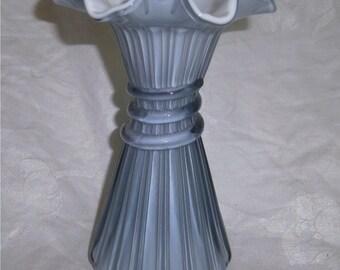 FENTON ART GLASS Federal Blue Overlay Wheat Vase