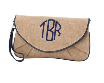 Burlap Clutch with Navy Trim