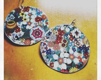 XL meadow Tea Tin Floral Earrings