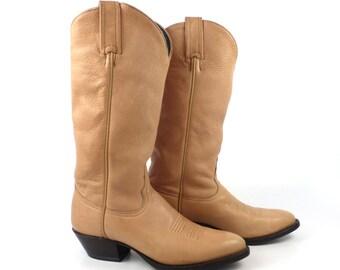Cowboy Boots Vintage 1980s Tony Lama Butterscotch Tan Brown Women's size 5 M