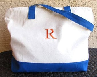 SALE Monogram Tote Bag Personalized or Monogrammed Teacher Tote Bag  Monogram Tote  Zippered Bag Market Bag Bag Teacher Gift  Closeout SALE